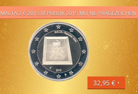 Malta 2 € 2015, Republik , mit Prägezeichen NL-Mint
