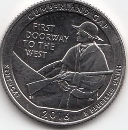 USA Quarter 2016, Cumberland GAP, Buchstabe S, bankfrisch aus der Rolle