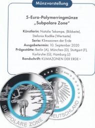 Deutschland 5 € 2020, Polymer, Subpolare Zone, Satz kpl. A,D,F,G,J, ST, bankfrisch