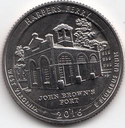 USA Nationalpark Quarter 2016, Harpers Ferry, Buchstabe P, bankfrisch aus der Rolle