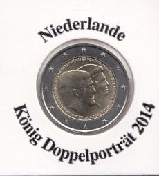 Niederlande 2 € 2014, König - Doppelporträt