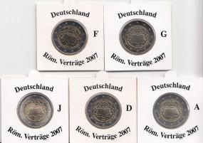 Deutschland 2 € 2007, A,D,F,G,J, Röm. Verträge