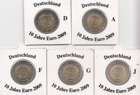 Deutschland 2 € 2009, 10 Jahre Euro, A,D,F,G,J,