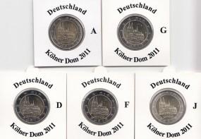 Deutschland 2 € 2011 Kölner Dom, A,D,F,G,J,