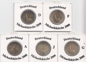 Deutschland 2 € 2008 Michaeliskirche, A,D,F,G,J,