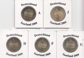 Deutschland 2 € 2009,Saarland, A,D,F,G,J,
