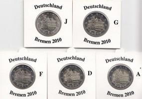 Deutschland 2 € 2010, Bremen, A,D,F,G,J,