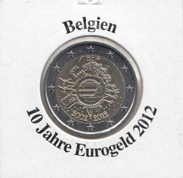 Belgien 2 € 2012, 10 Jahre Eurobargeld,