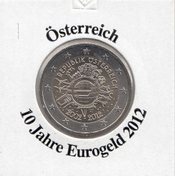 Österreich 2 € 2012, 10 Jahre Eurobargeld,
