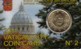 Vatikan 50 Cent Benedikt 2011 in Coincard Nr. 2