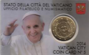 Vatikan 50 Cent Franziskus 2014 in Coincard Nr. 5