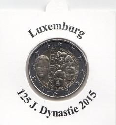Luxemburg 2 € 2015, Dynastie Nassau-Weilburg, bankfrisch aus der Rolle