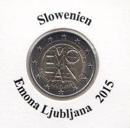 Slowenien 2 € 2015, Emona Ljubljana, bankfrisch aus der Rolle