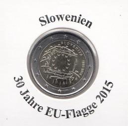 Slowenien 2 € 2015, 30 Jahre EU - Flagge, bankfrisch aus der Rolle