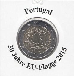 Portugal 2 € 2015, 30 Jahre EU - Flagge, bankfrisch aus der Rolle