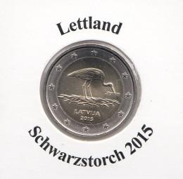 Lettland 2 € 2015, Schwarzstorch, bankrisch aus der Rolle