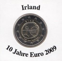 Irland 2 € 10 Jahre Euro 2009, bankfrisch aus der Rolle