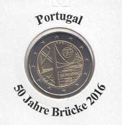 Portugal 2 € 2016, Brücke 25.April, bankfrisch aus der Rolle