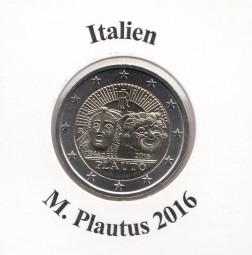 Italien 2 € 2016, Plautus, bankfrisch aus der Rolle