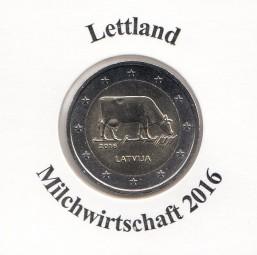 Lettland 2 € 2016 Milchwirtschaft, bankfrisch aus der Rolle