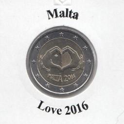 Malta 2 € 2016, Love, banfrisch aus der Rolle