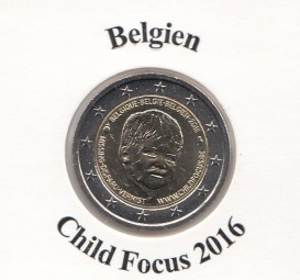 Belgien 2 € 2016, Child Focus, bankfrisch