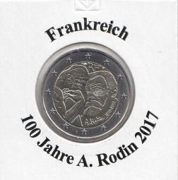 Frankreich 2 € 2017, 100 Jahre A. Rodin, bankfrisch aus der Rolle