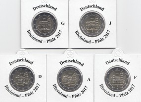 Deutschland 2 € 2017, Rheinland Pfalz, A,D,F,G,J, bankfrisch aus der Rolle