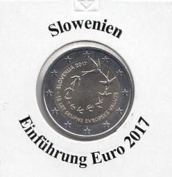 Slowenien 2 € 2017 10 Jahre Euro - Einführung , bankfrisch aus der Rolle