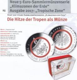 Deutschland 5 € 2017, Tropische Zone, bankfrisch aus der Rolle, A,D,F,G,J, Satz kpl. ab Ende Mai