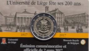 Belgien 2 € 2017 Uni Lüttich in Coincard Wallonische Beschriftung der Vorderseite