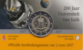 Belgien 2 € 2017 Uni Lüttich in Coincard, Vorderseite flämisch beschriftet