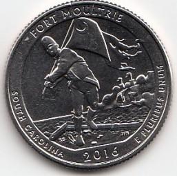 USA Quarter, Fort Moultrie 2016, P, bankfrisch aus der Rolle