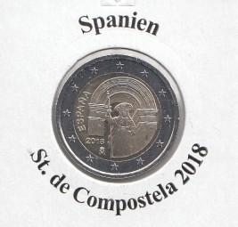 Spanien 2 € 2018, Compostela, bankfrisch aus der Rolle