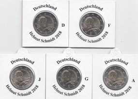Deutschland 2 € 2018, Helmut Schmidt, A,D,F,G,J, bankfrisch aus der Rolle Satz komplett
