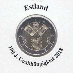 Estland 2 € 2018, Unabhängigkeit, bankfrisch aus der Rolle