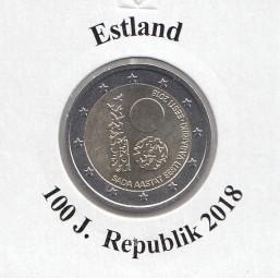 Estland 2 € 2018, 100 Jahre Republik, bankfrisch aus der Rolle