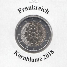Frankreich 2 € 2018, Kornblume, bankfrisch aus der Rolle