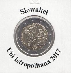 Slowakei 2 € 2017, Uni Istropolitana, bankfrisch aus der Rolle