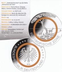 Deutschland 5 Euro Subtropische Zone 2018, bankfrisch aus der Rolle