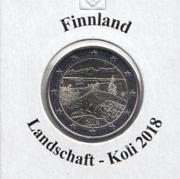 Finnland 2 € 2018, Landschaft Koli, bankfrisch aus der Rolle