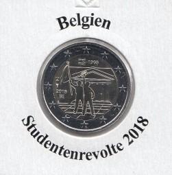 Belgien 2 € 2018, Studentenrevolte, bankfrisch