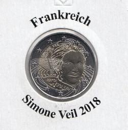 Frankreich 2 € 2018, S. Veil, bankfrisch aus der Rolle