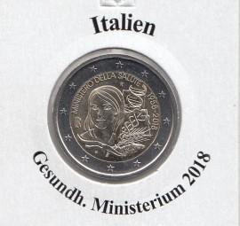 Italien 2 € 2018, Gesundheits Ministerium, bankfrisch aus der Rolle