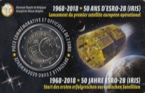 Belgien 2 € 2018 Satellit Esro 2 B in Coincard