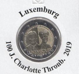Luxemburg 2 € 2019, Charlotte Thronbesteigung, bankfrisch
