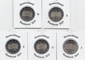 Deutschland 2 € 2019, Bundesrat , A,D,F,G,J, bankfrisch aus der Rolle