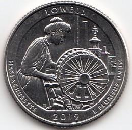 USA Quarter 2019, Lowell Nat. Park, Buchstabe S, bankfrisch