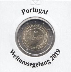 Portugal 2 € 2019, Weltumsegelung- Magellan, bankfrisch