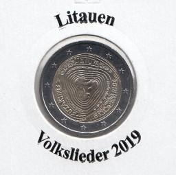 Litauen 2 € 2019 Volkslieder, bankfrisch aus der Rolle
